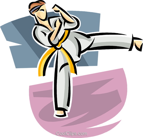 Martial artist kicking Royalty Free Vector Clip Art illustration vc063668