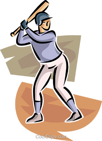 Baseball player at bat Royalty Free Vector Clip Art illustration vc063673