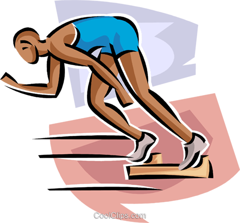 Sprinter coming out of blocks Royalty Free Vector Clip Art illustration vc063674