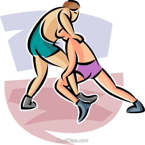wrestlers Royalty Free Vector Clip Art illustration vc063675
