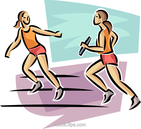 relay runners Royalty Free Vector Clip Art illustration vc063687