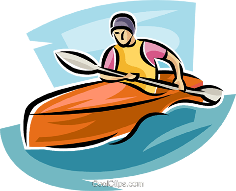 Kayaker in rapids Royalty Free Vector Clip Art illustration vc063688