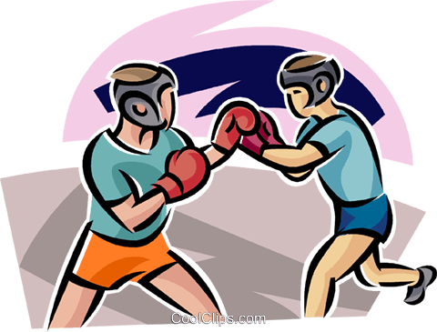 Boxers sparring Royalty Free Vector Clip Art illustration vc063689