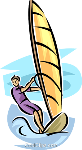 Windsurfing Royalty Free Vector Clip Art Illustration