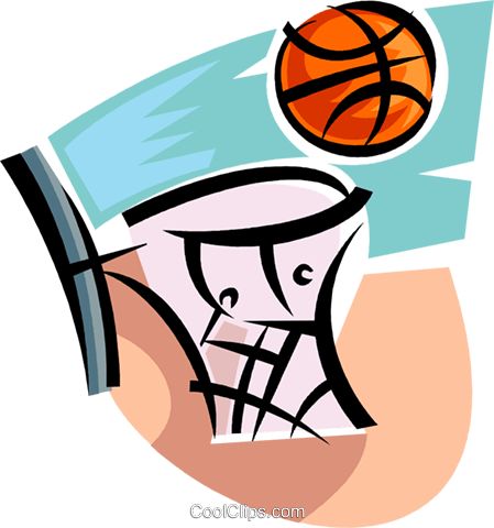 basketball net and ball Royalty Free Vector Clip Art illustration vc063708