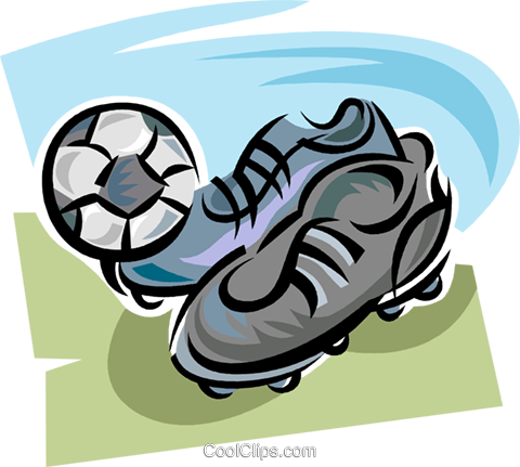 Soccer cleats and ball Royalty Free Vector Clip Art illustration vc063709