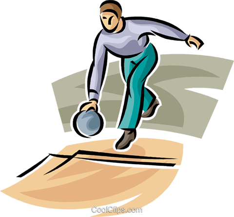 Bowling person. Royalty free vector clip