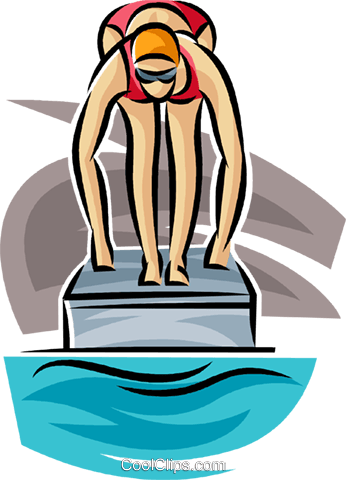 Swimmer getting ready to race Royalty Free Vector Clip Art illustration vc063713