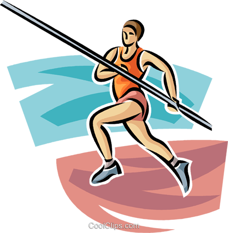 Pole vaulter Royalty Free Vector Clip Art illustration vc063714