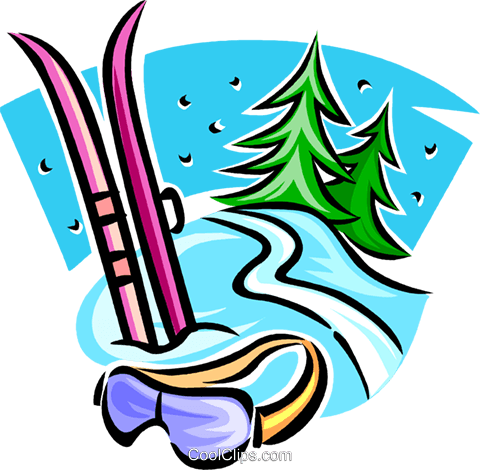 Downhill skis and goggles Royalty Free Vector Clip Art illustration vc063730