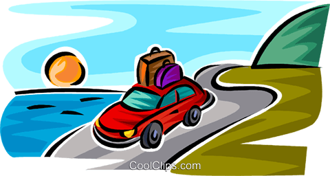 car with luggage on the roof Royalty Free Vector Clip Art illustration vc063737