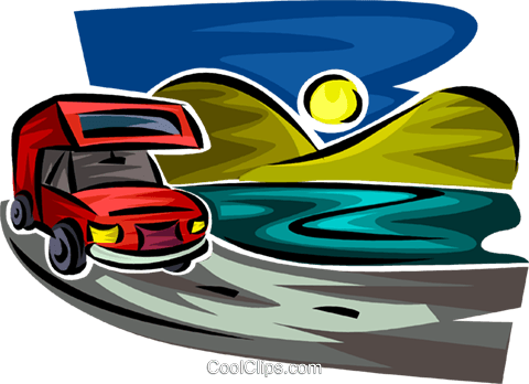 RV driving on a road Royalty Free Vector Clip Art illustration vc063739