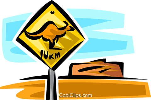 kangaroo sign Royalty Free Vector Clip Art illustration vc063751