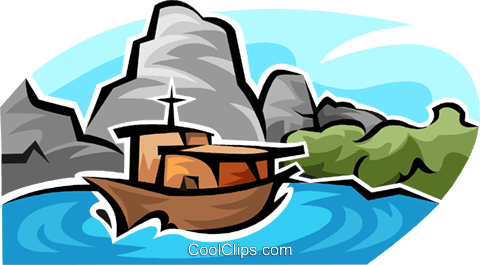 pleasure boat Royalty Free Vector Clip Art illustration vc063770