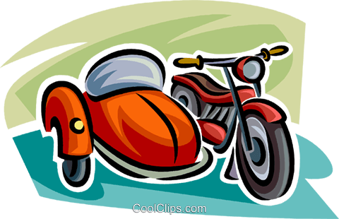 motorcycle with a sidecar Royalty Free Vector Clip Art illustration vc063779