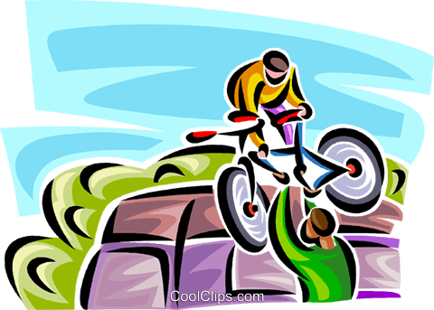 two people moving a bicycle Royalty Free Vector Clip Art illustration vc063787