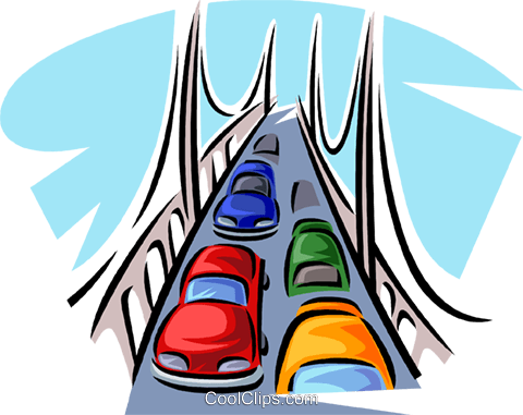 automobiles on a bridge Royalty Free Vector Clip Art illustration vc063793
