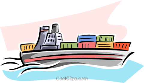 cargo ship Royalty Free Vector Clip Art illustration vc063798