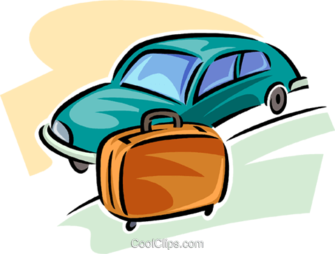 piece of luggage beside a car Royalty Free Vector Clip Art illustration vc063799