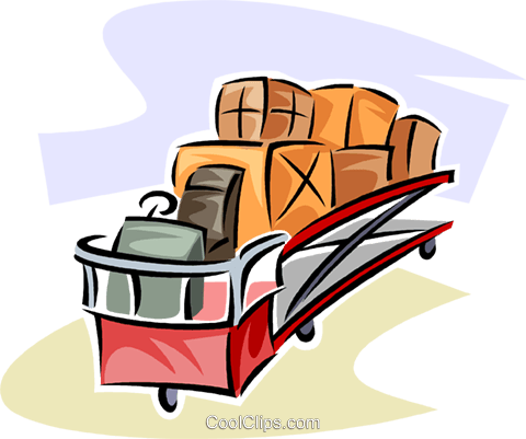 baggage truck at the airport Royalty Free Vector Clip Art illustration vc063800