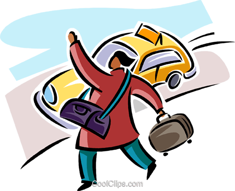 Woman hailing a cab Royalty Free Vector Clip Art illustration vc063805