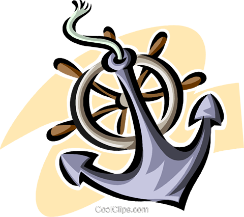 anchor and a ship's helm Royalty Free Vector Clip Art illustration vc063806