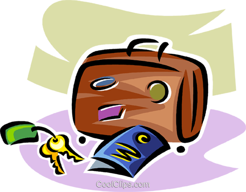 keys, suitcase and tickets Royalty Free Vector Clip Art illustration vc063808
