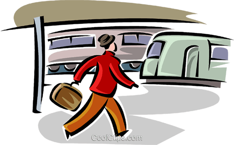 walking through the train station Royalty Free Vector Clip Art illustration vc063810
