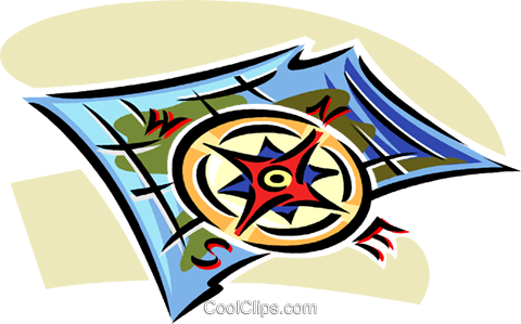 map and a compass Royalty Free Vector Clip Art illustration vc063814