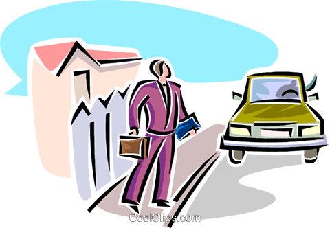 businessman waiting to be picked up Royalty Free Vector Clip Art illustration vc063817