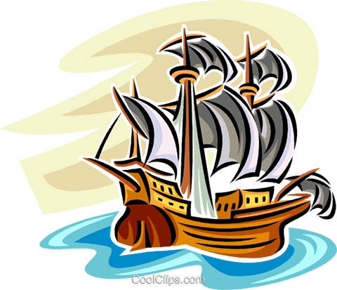 Tall ship Royalty Free Vector Clip Art illustration vc063837