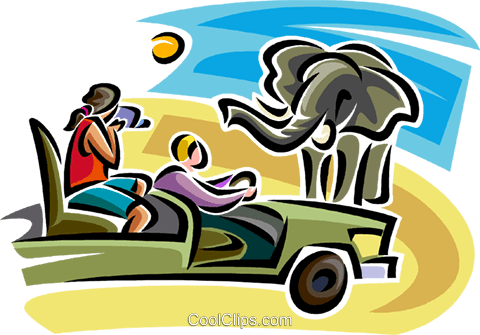 People on a safari looking at an elephant Royalty Free Vector Clip Art illustration vc063838
