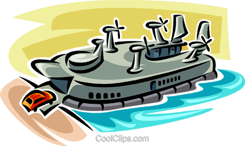 hovercraft ferry Royalty Free Vector Clip Art illustration vc063841