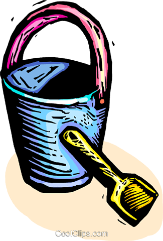 Shovel and a pail Royalty Free Vector Clip Art illustration vc063870