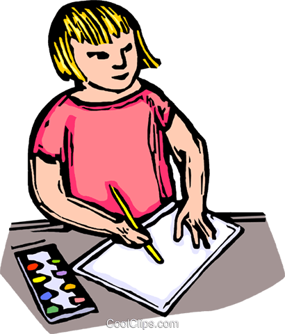 Child drawing on a piece of paper Royalty Free Vector Clip Art illustration vc063877