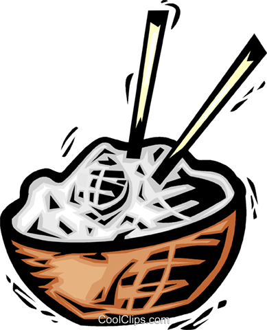 bowl of rice Royalty Free Vector Clip Art illustration vc064123