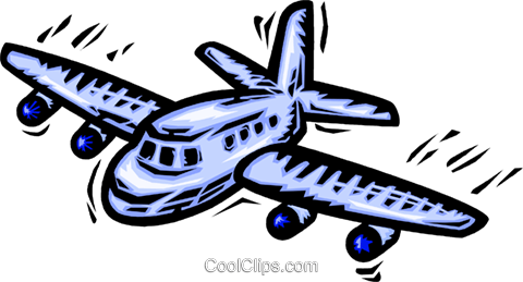 Commercial jet Royalty Free Vector Clip Art illustration vc064156
