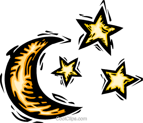 moon and stars Royalty Free Vector Clip Art illustration vc064175