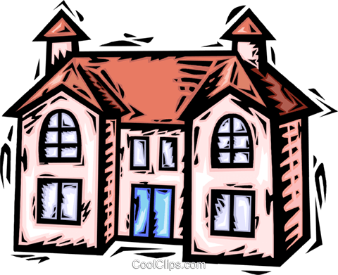 Rural Housing Royalty Free Vector Clip Art illustration vc064179