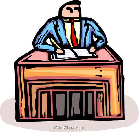 businessman working at a desk Royalty Free Vector Clip Art illustration vc064187