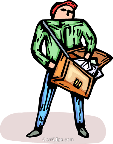 postal worker Royalty Free Vector Clip Art illustration vc064192