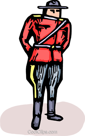 Royal Canadian Mounted Police Officer Royalty Free Vector Clip Art illustration vc064195