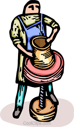 Potter making vase Royalty Free Vector Clip Art illustration vc064203