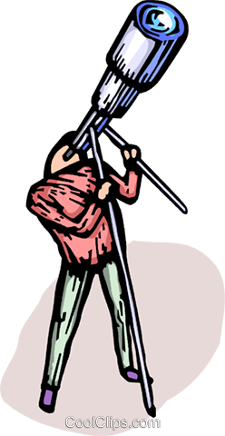 Person looking through a telescope Royalty Free Vector Clip Art illustration vc064204