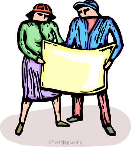 two people looking at blueprints Royalty Free Vector Clip Art illustration vc064209