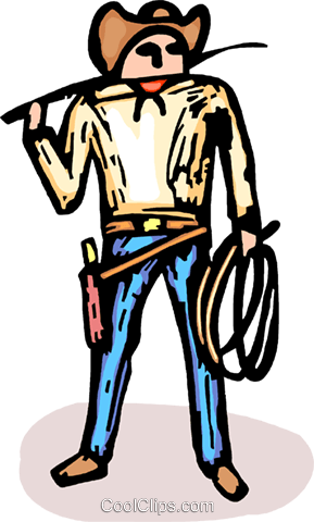 Cowboy with gun and whip Royalty Free Vector Clip Art illustration vc064230
