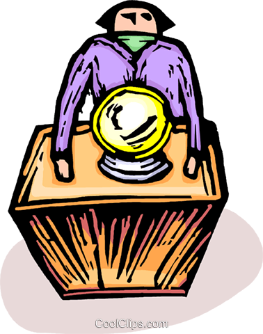 Person with a crystal ball Royalty Free Vector Clip Art illustration vc064242