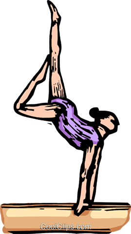 Gymnast performing on the balance beam Royalty Free Vector Clip Art illustration vc064256