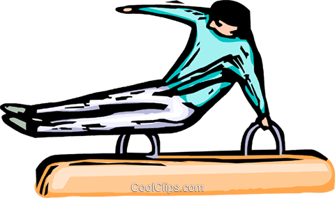 Gymnast performing on the rings Royalty Free Vector Clip Art illustration vc064259