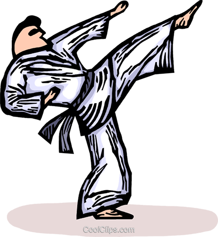 Martial artist kicking Royalty Free Vector Clip Art illustration vc064266